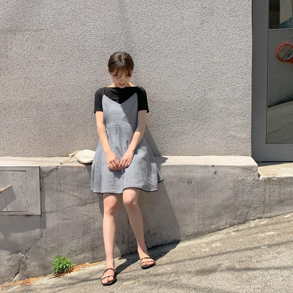 細格子lace邊吊帶連身裙