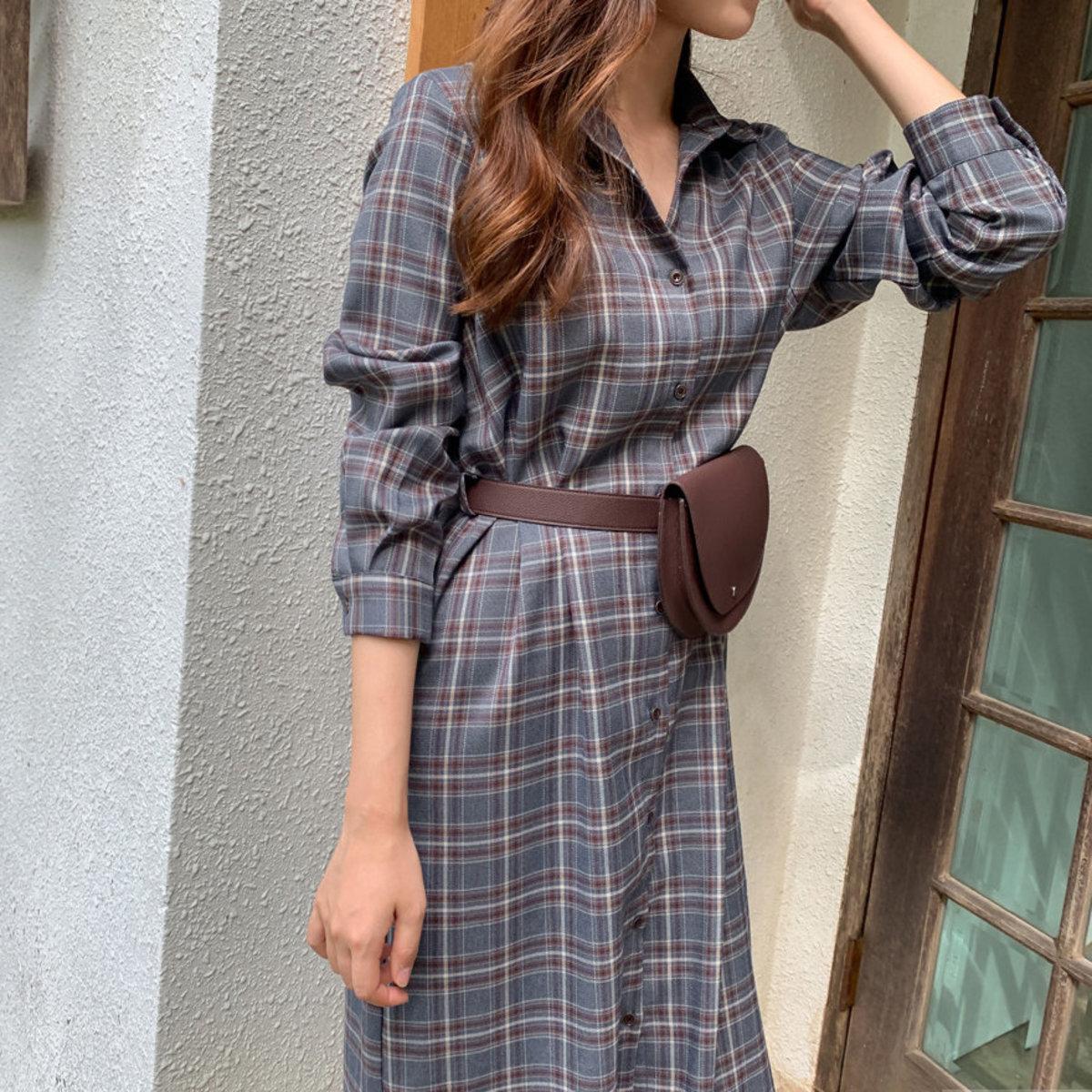 格子恤衫形連身裙