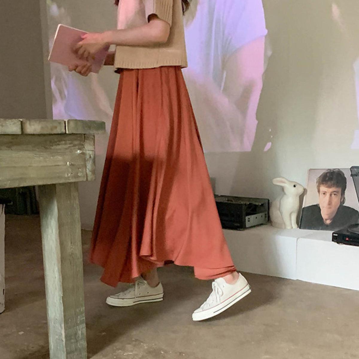 不平齊傘形腳半截裙