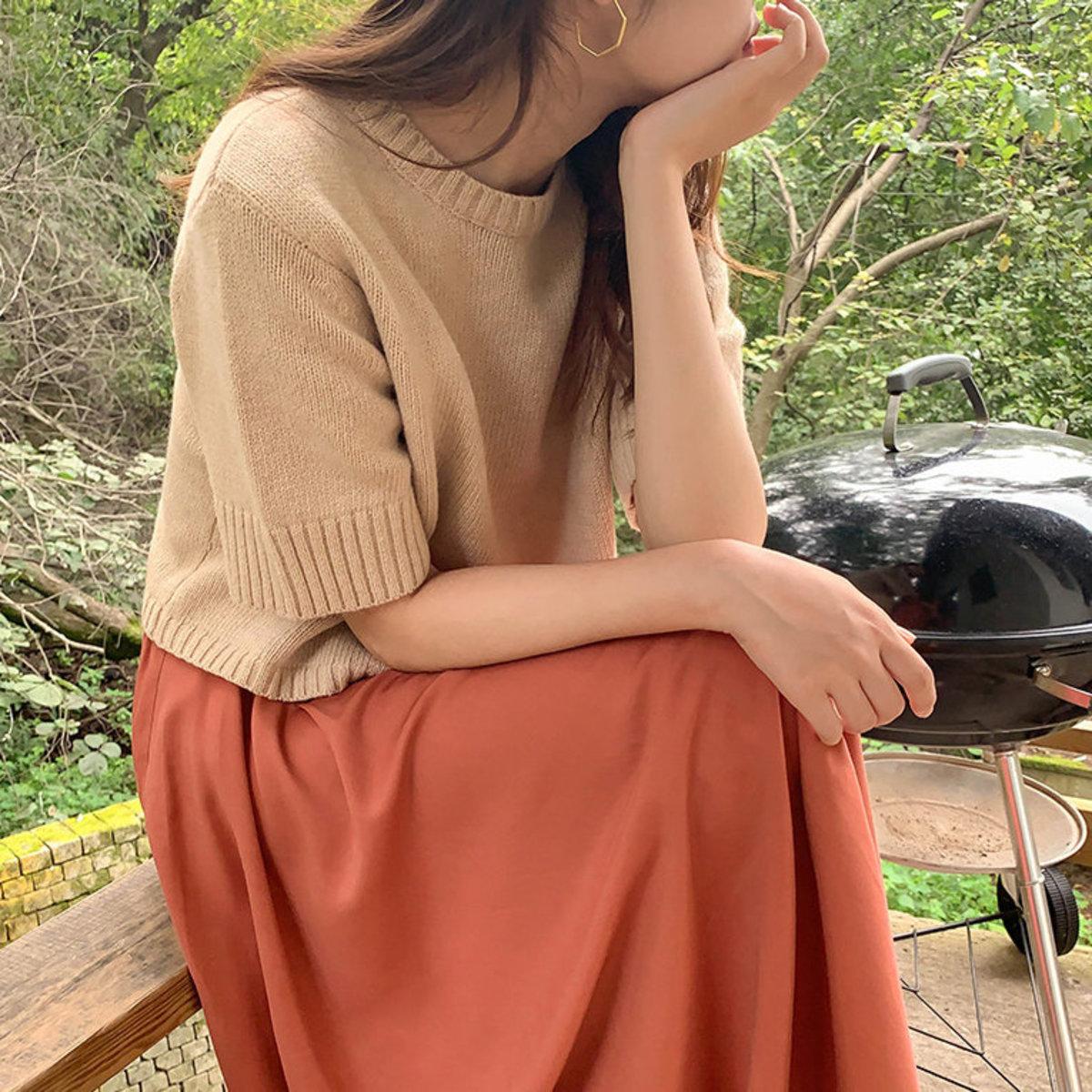 圓領闊袖短袖針織衫