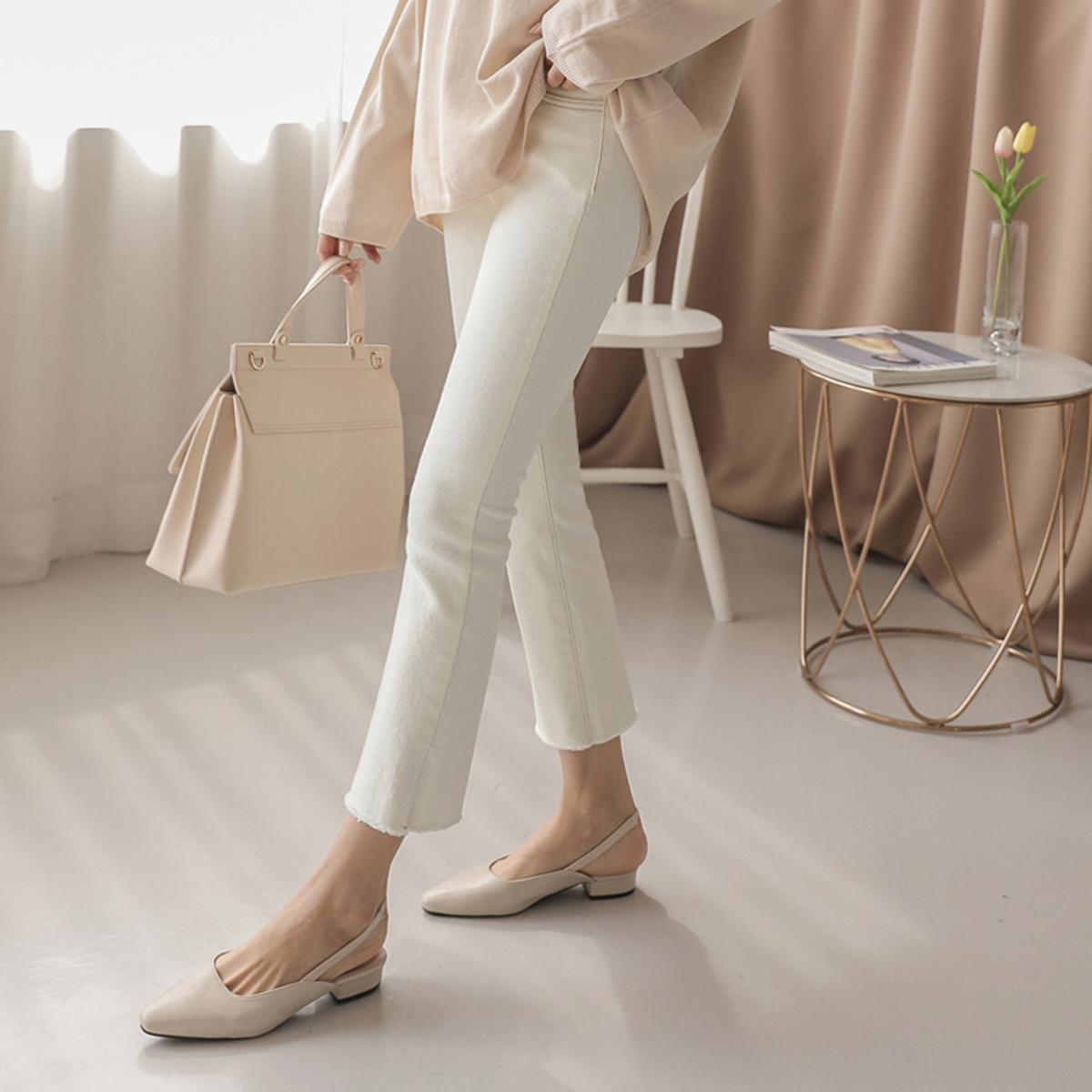 米白色修身褲
