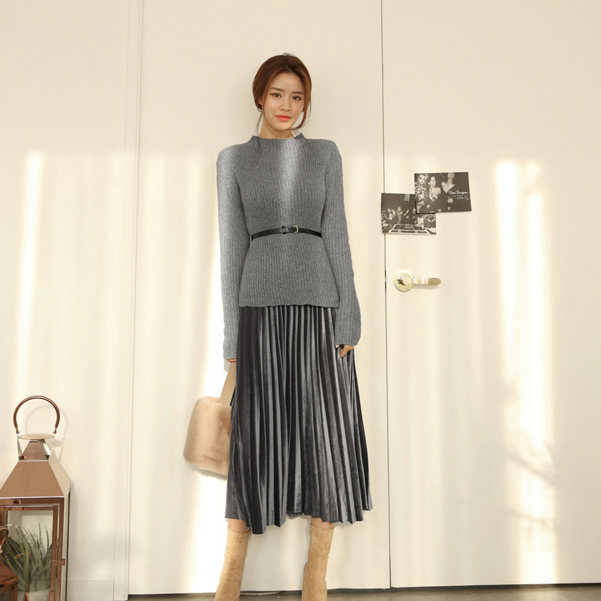 Ribbed Knit and Pleated Skirt Set