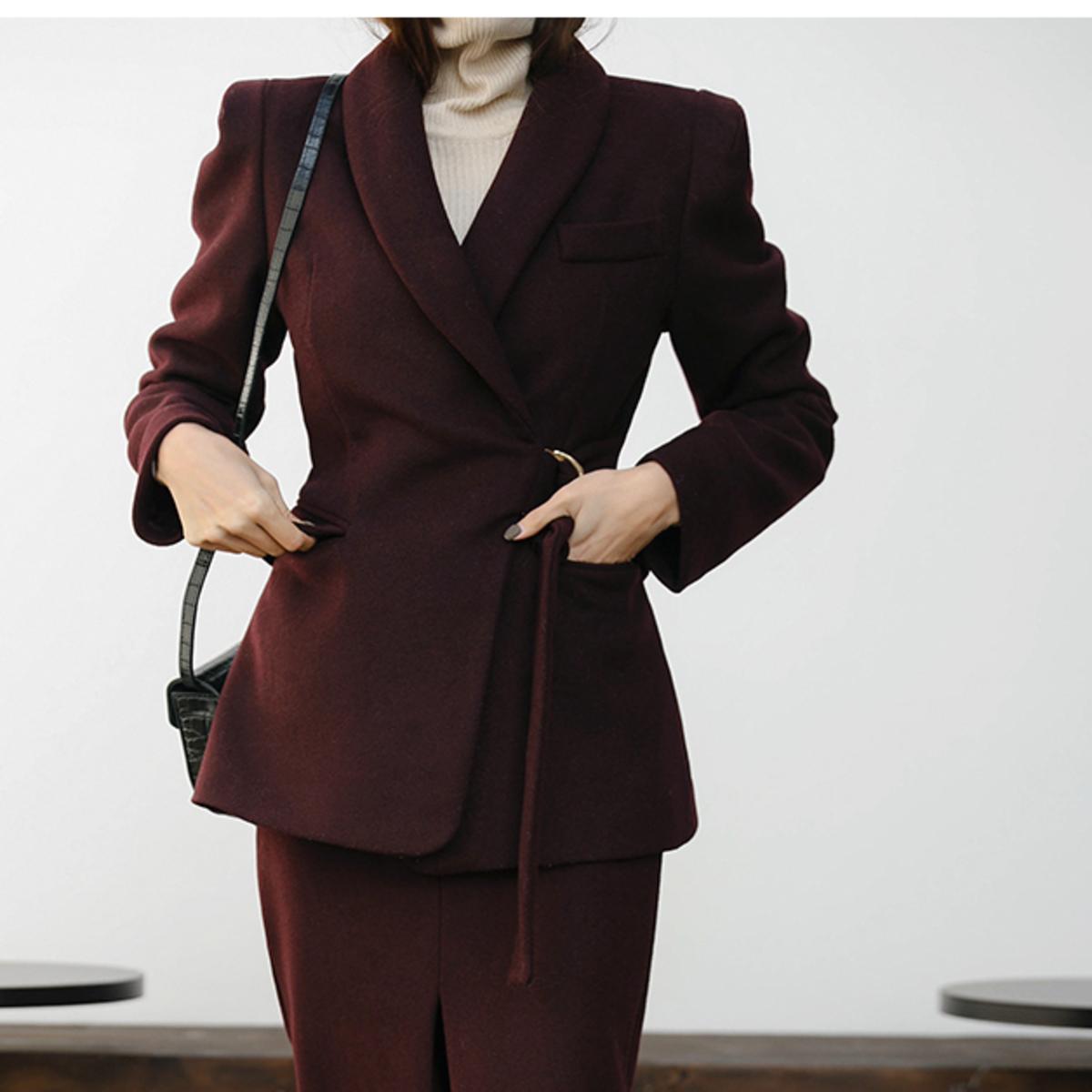 Buckled Waist Shawl Collar Jacket