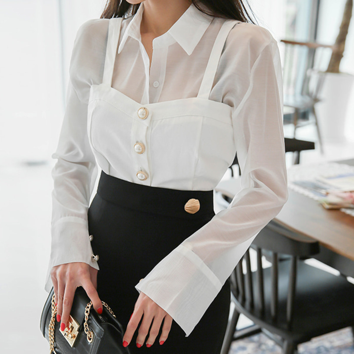 Bustier Top and Sheer Blouse Set