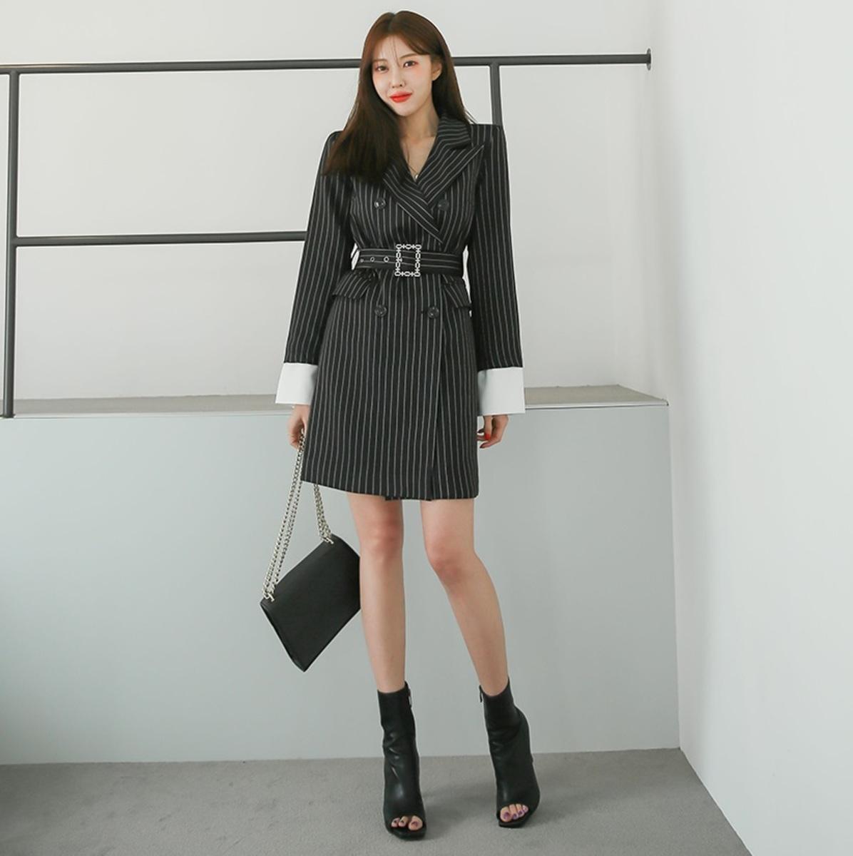 雙襟條紋連身裙