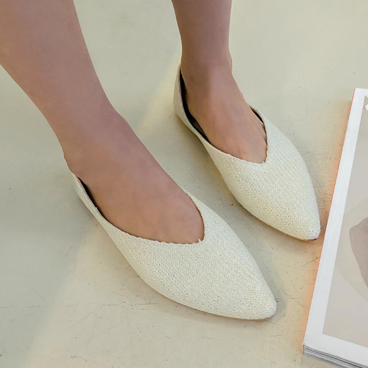 編織面尖頭平底鞋
