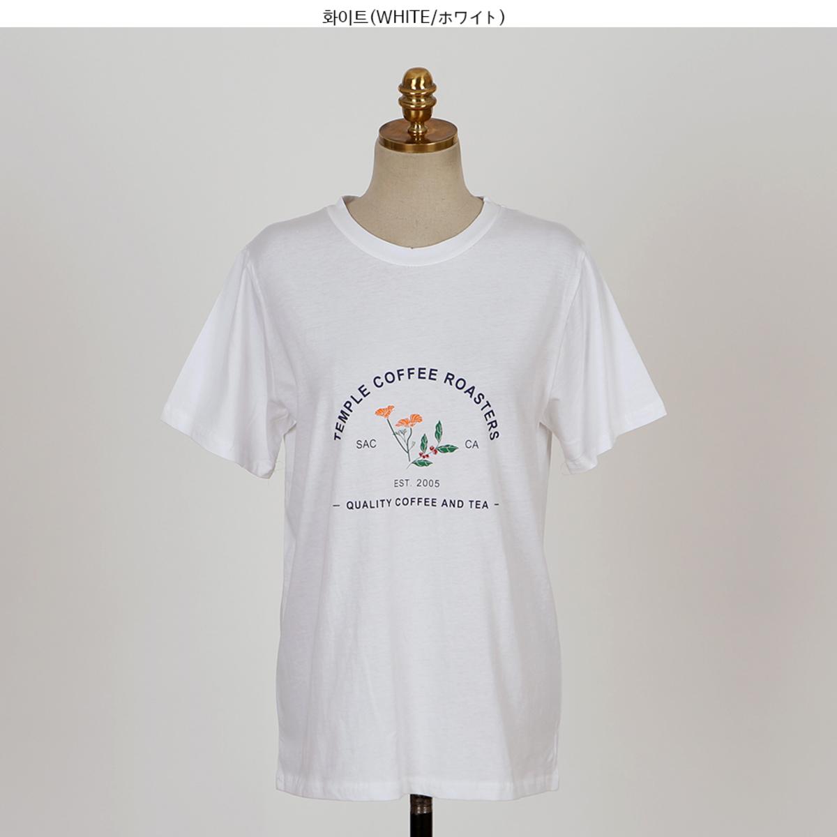 COFFEE Print Crew Neck T-Shirt