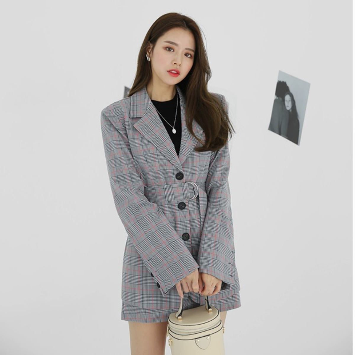 Collared Belted Check Jacket