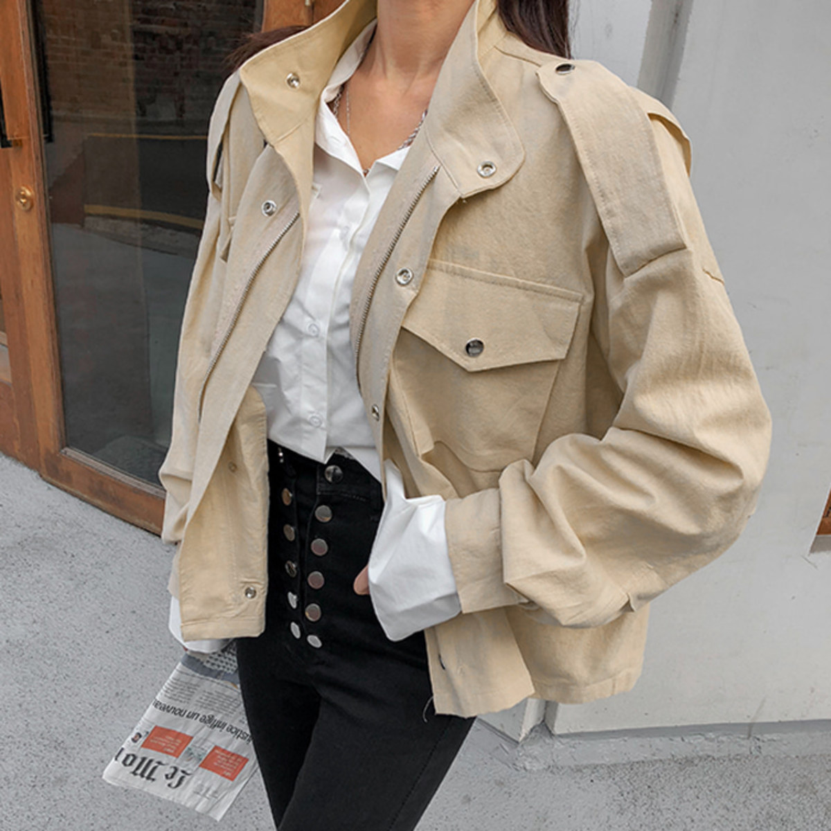 Self-Tie Belt Utility Jacket