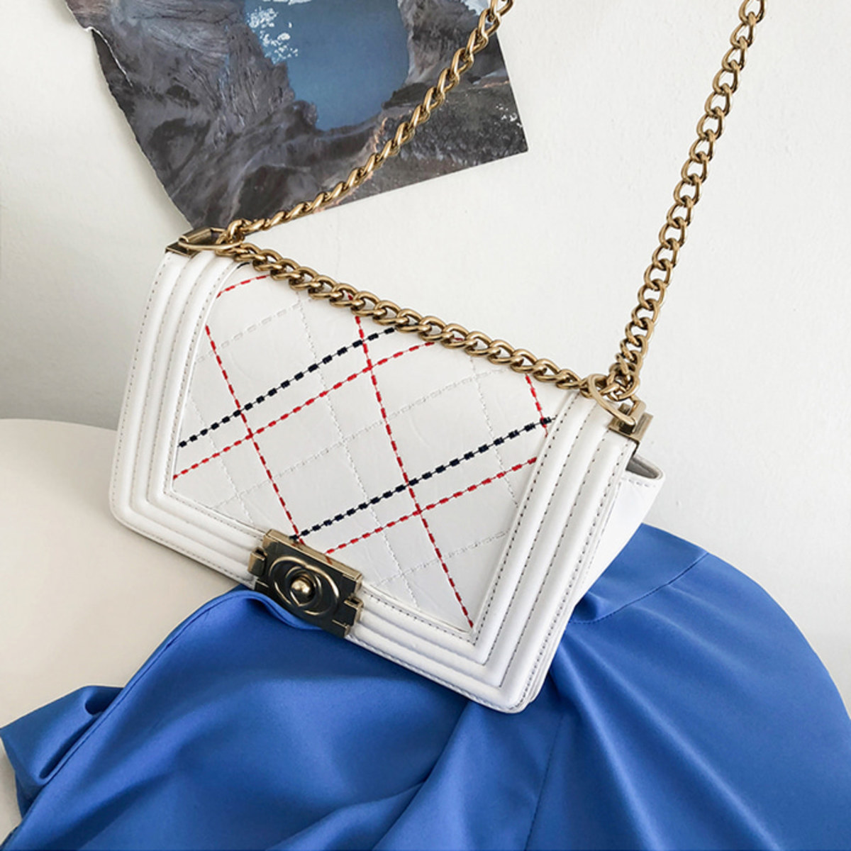 Contrast Stitch Mini Shoulder Bag