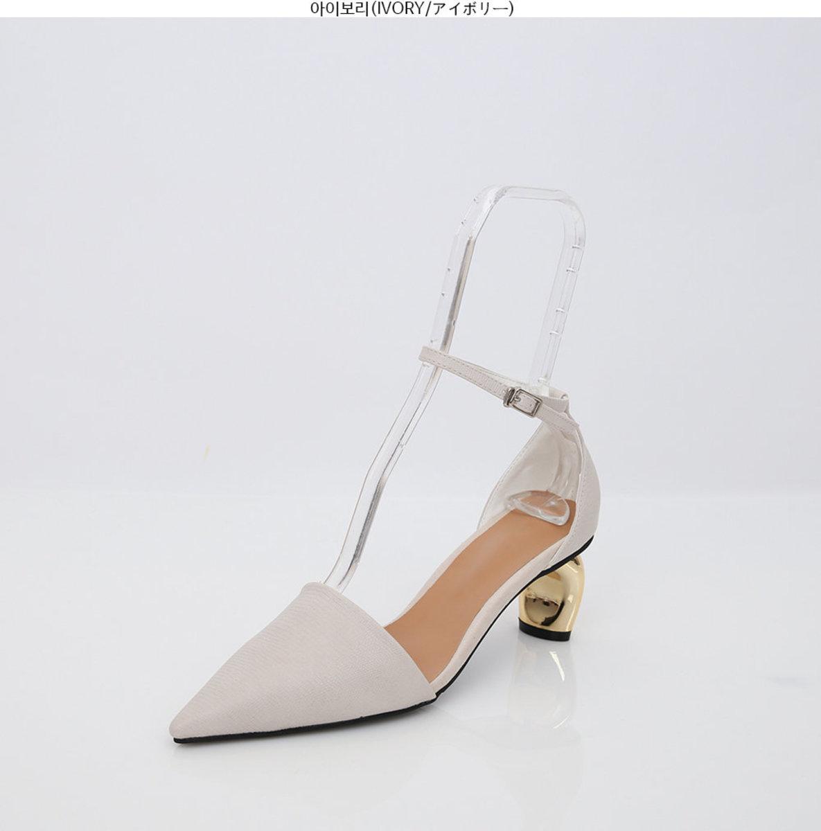 金屬鞋跟踝帶鞋