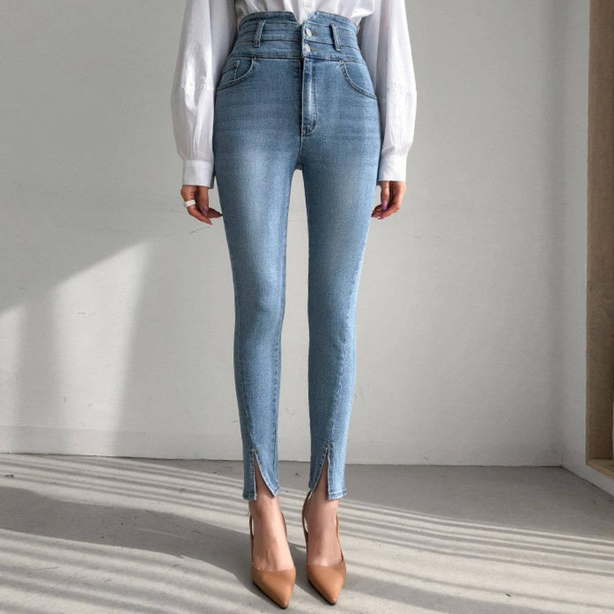 High Waist Slit Hem Skinny Jeans