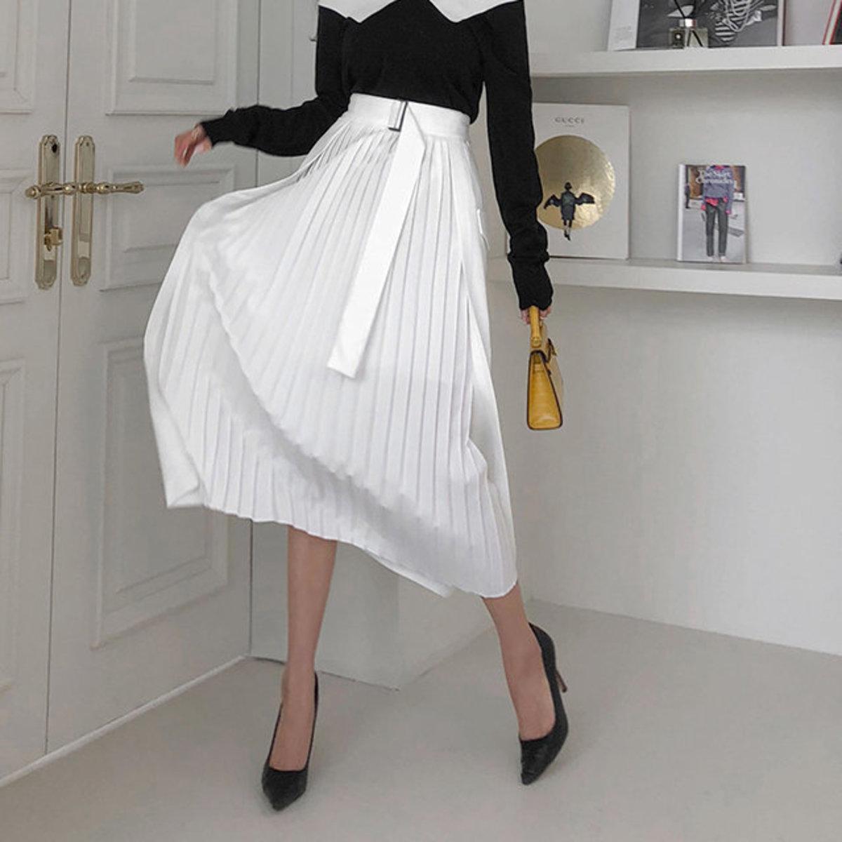 腰帶款拼百褶半截裙