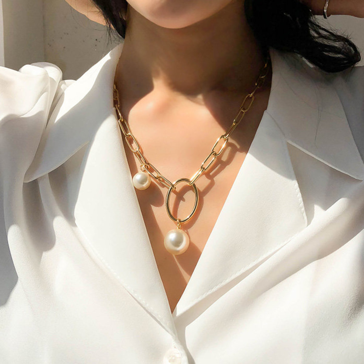 Ball Accent Chunky Cable Chain Necklace