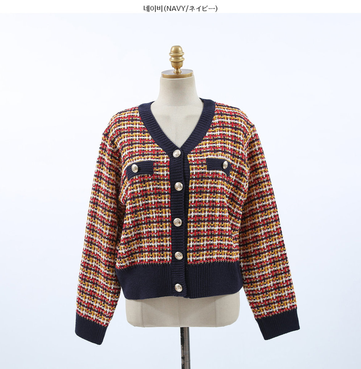 Check Pattern Gold-Tone Button Cardigan