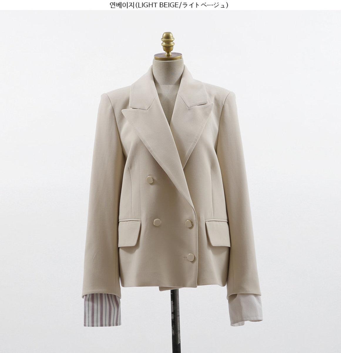 Peak Lapel Contrast Cuff Jacket