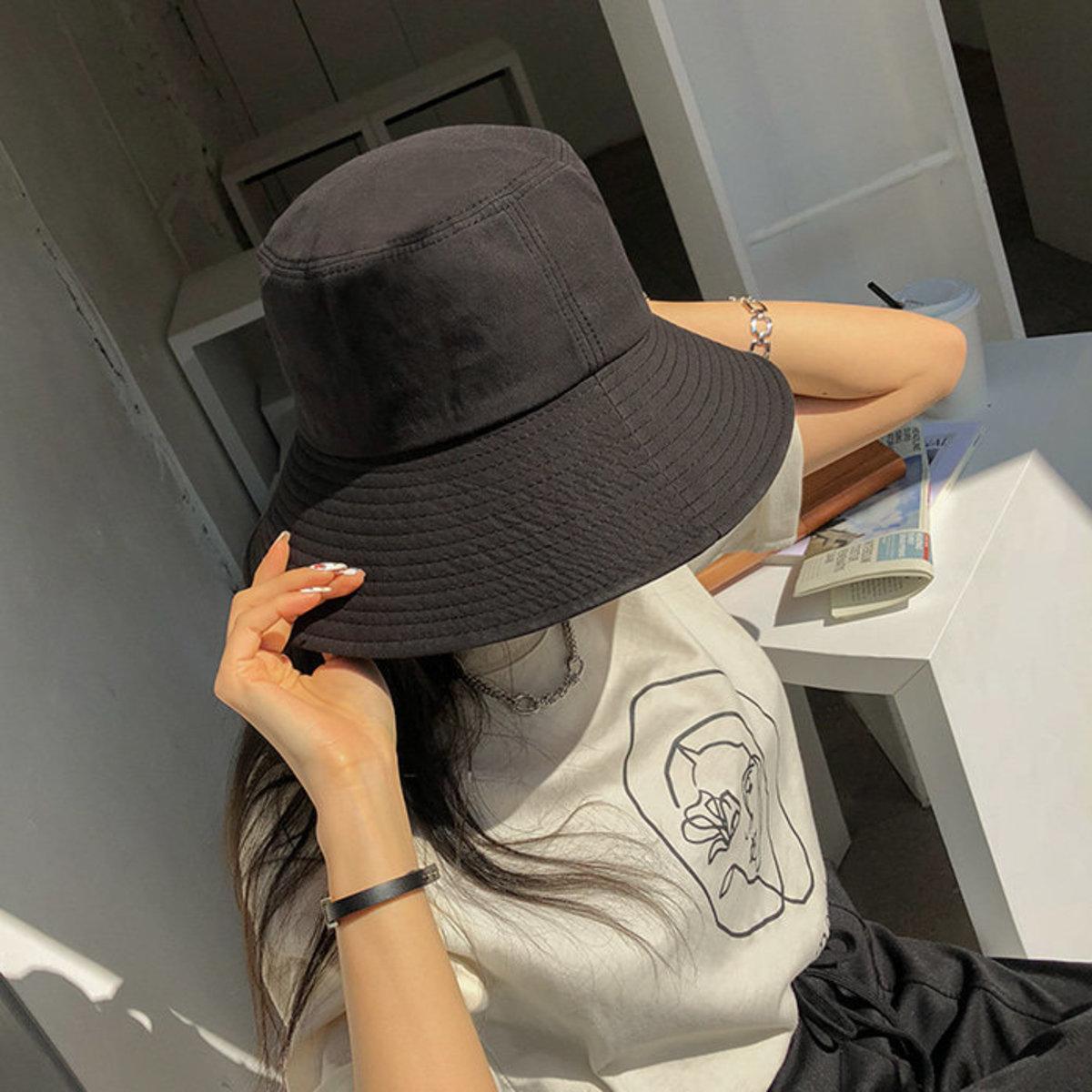 Wide Brim Solid Tone Bucket Hat