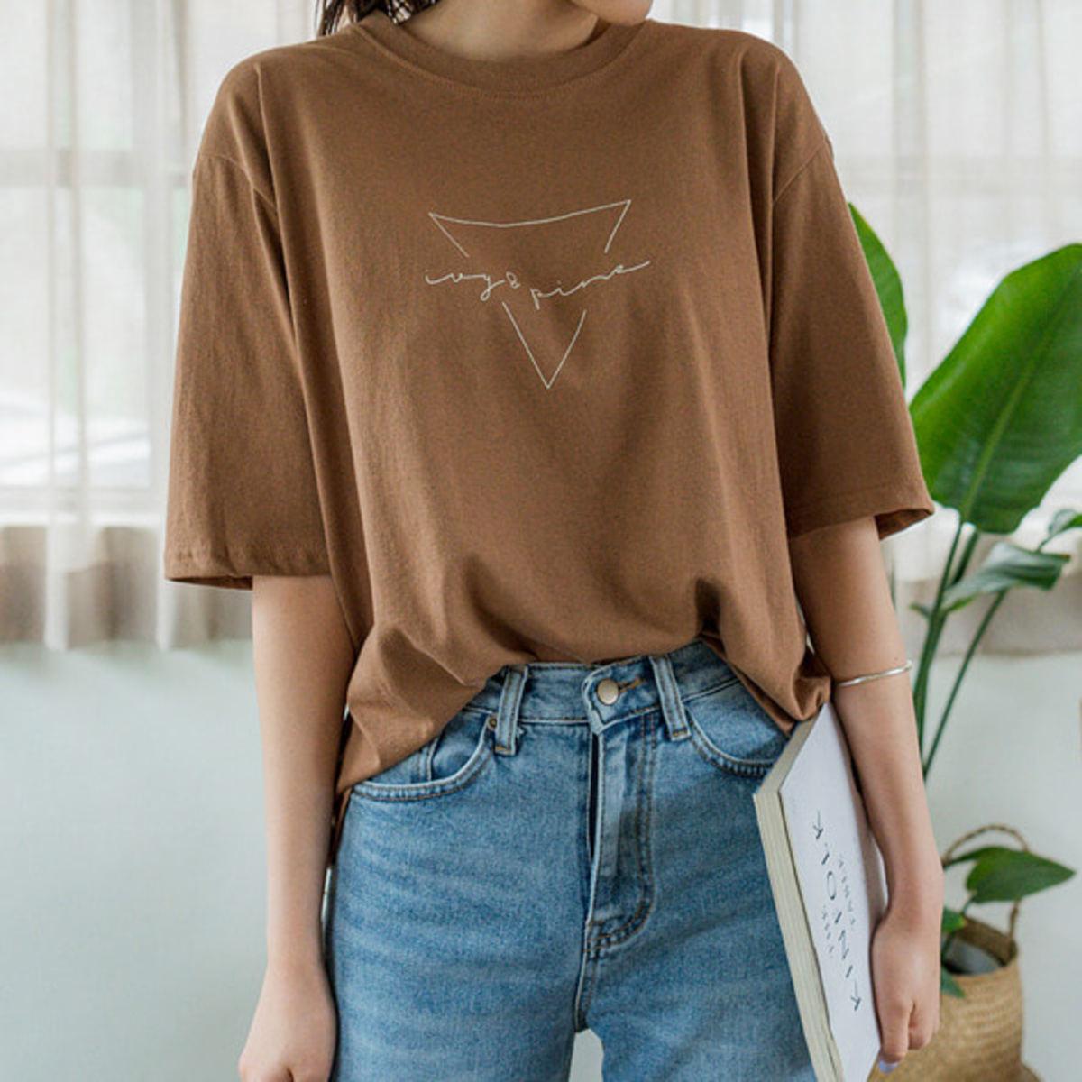 印字圓領寬鬆T恤