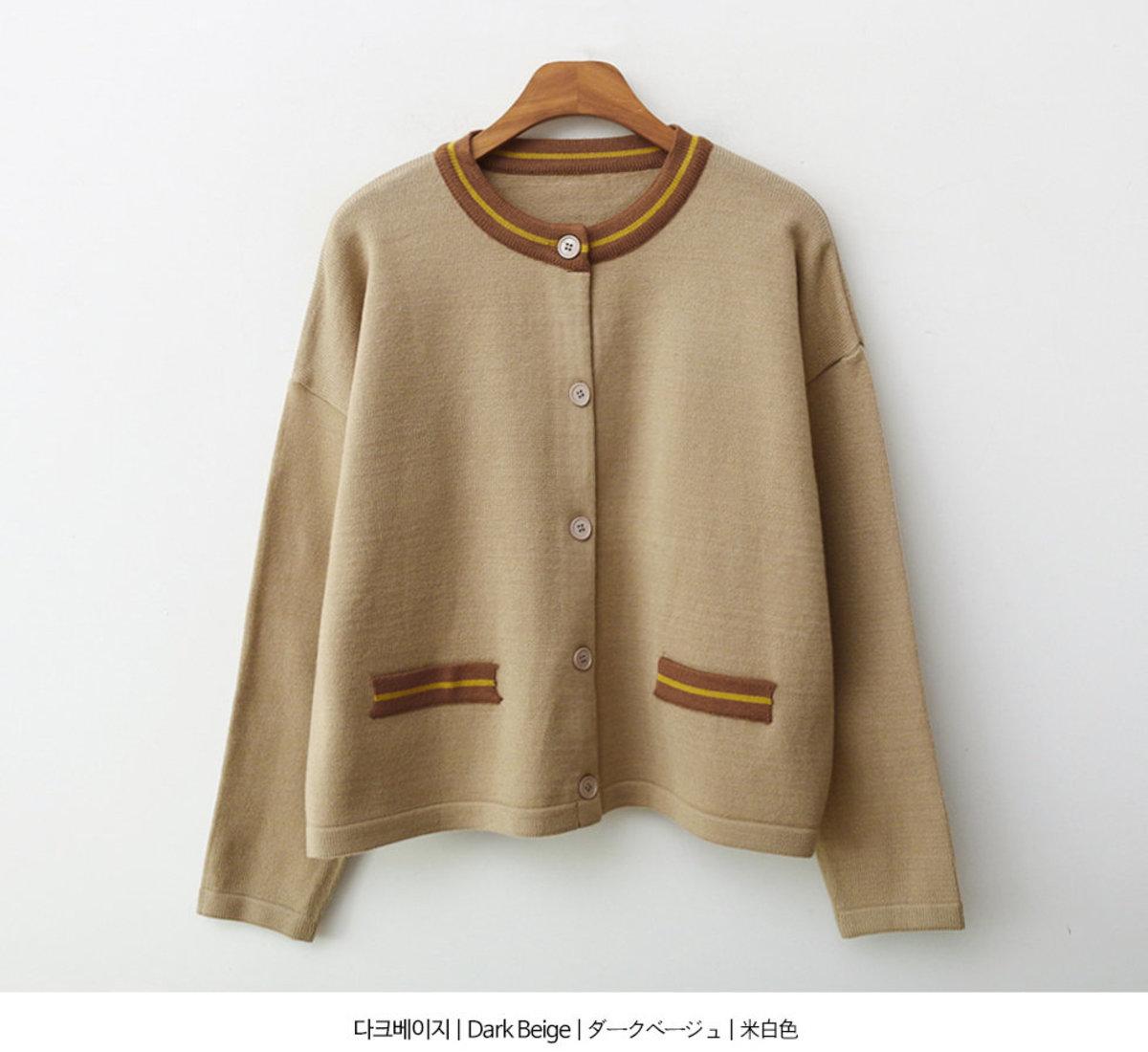 條紋假袋針織外套