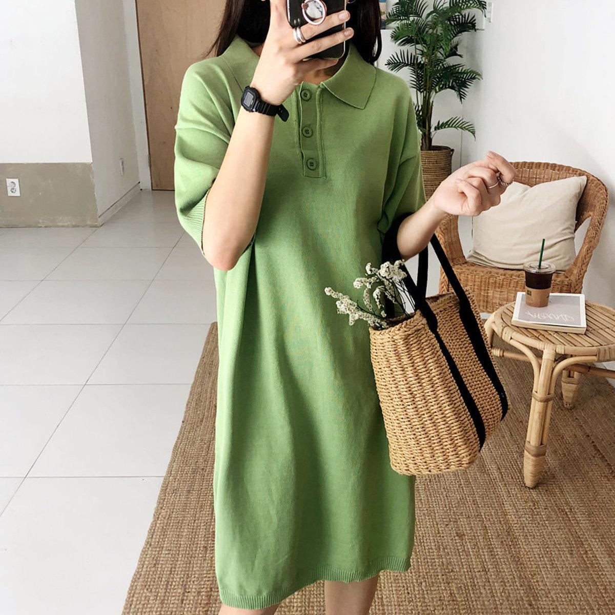 Knit Collared Midi Dress