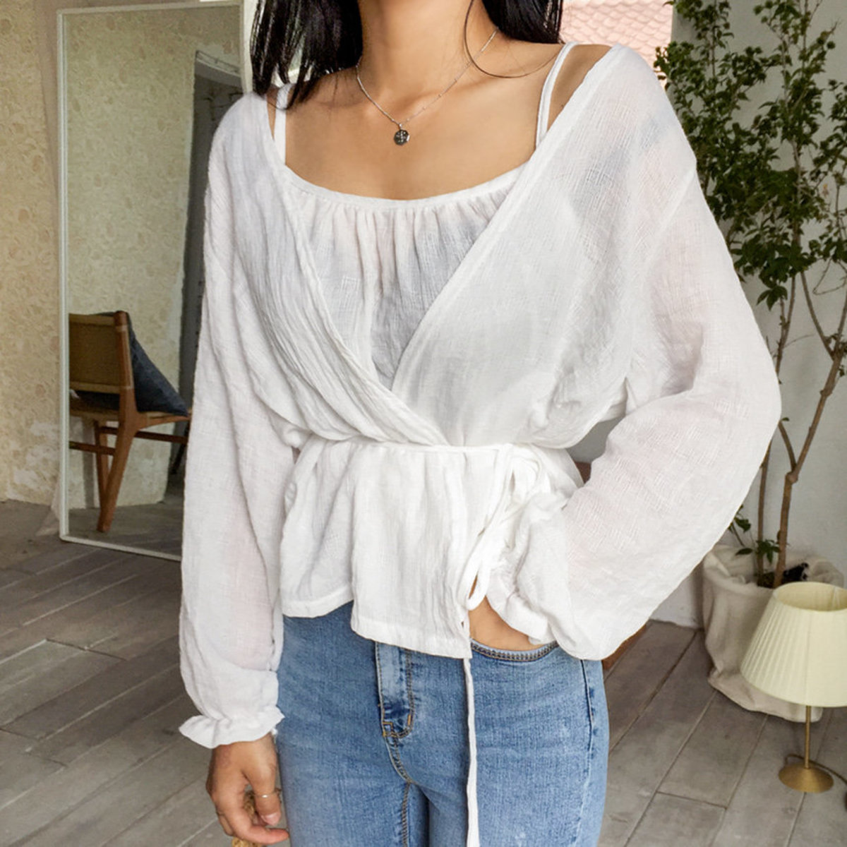 Camisole With Open Cardigan Set