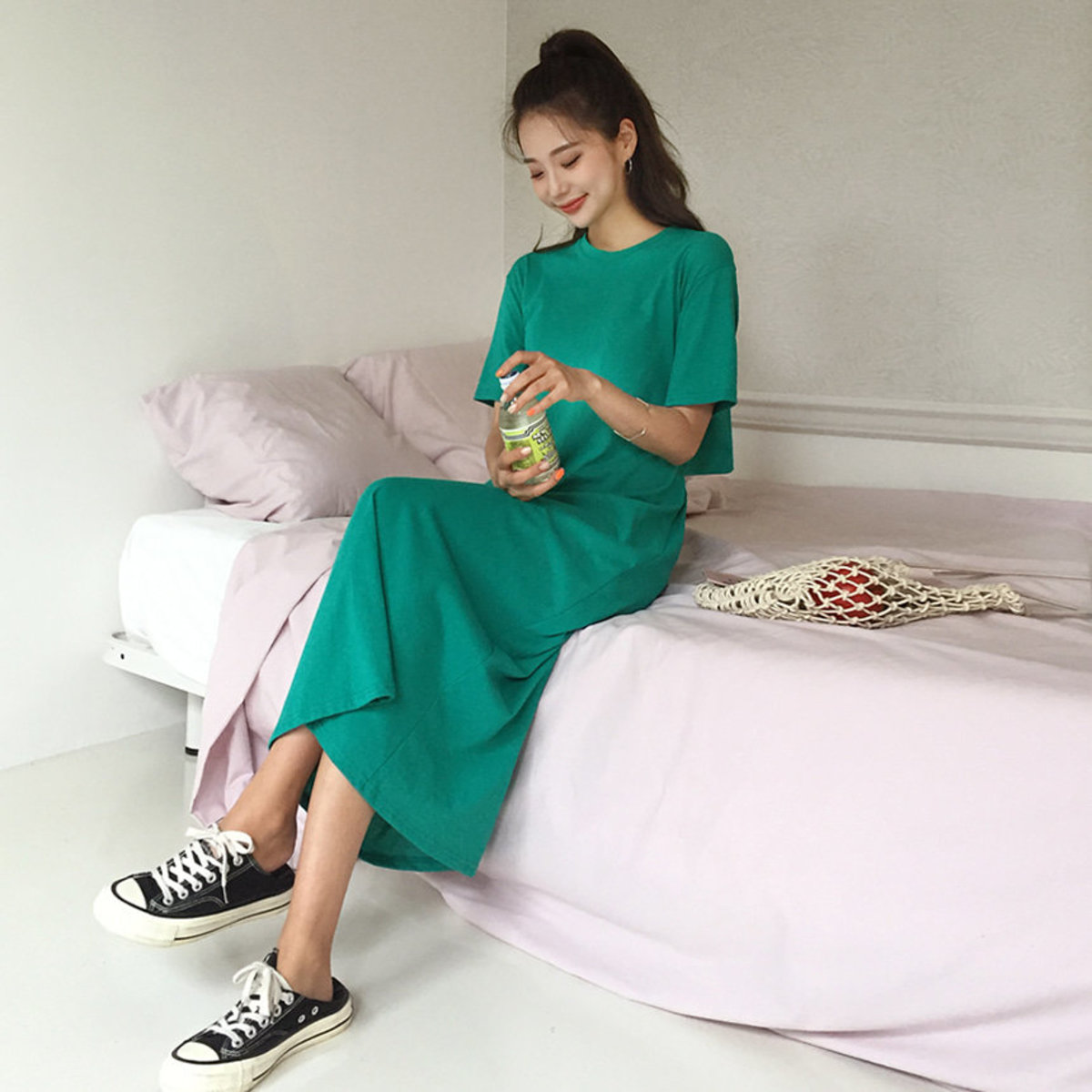 Lettering Cut Out Back Long Dress