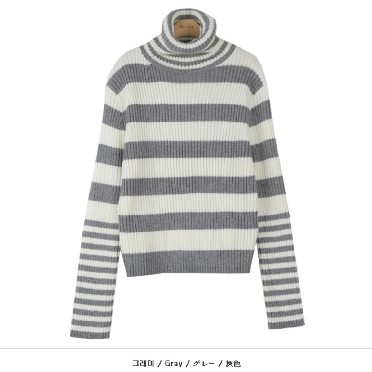 橫間樽領針織衫