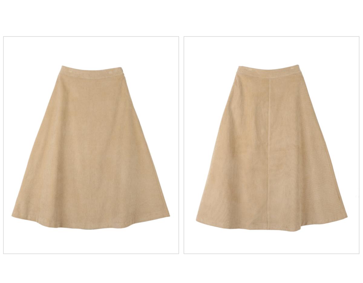 燈芯絨傘形腳半截裙