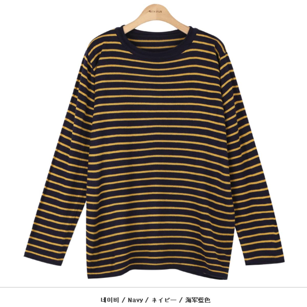 橫間卷領邊針織衫