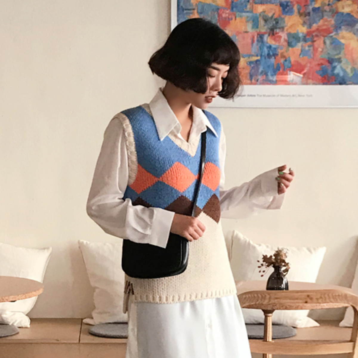 Loose Argyle Knit Vest