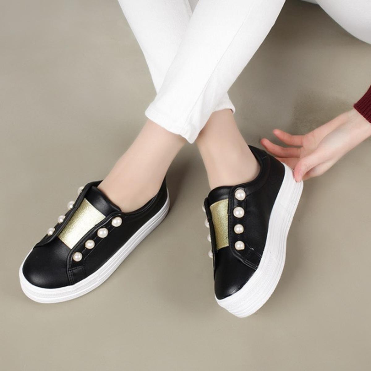 金色橡筋口珠仔運動鞋