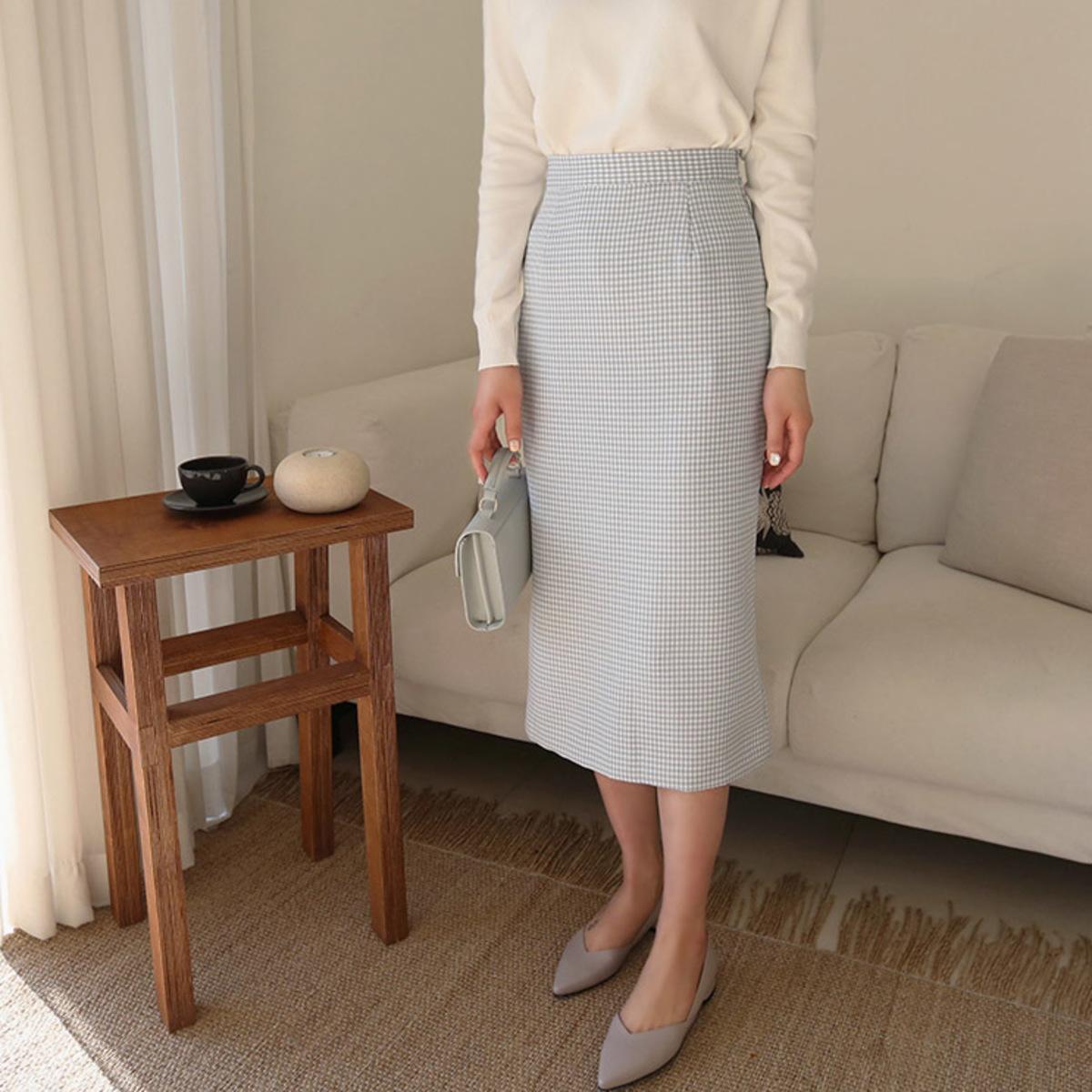 細格子直身半截裙