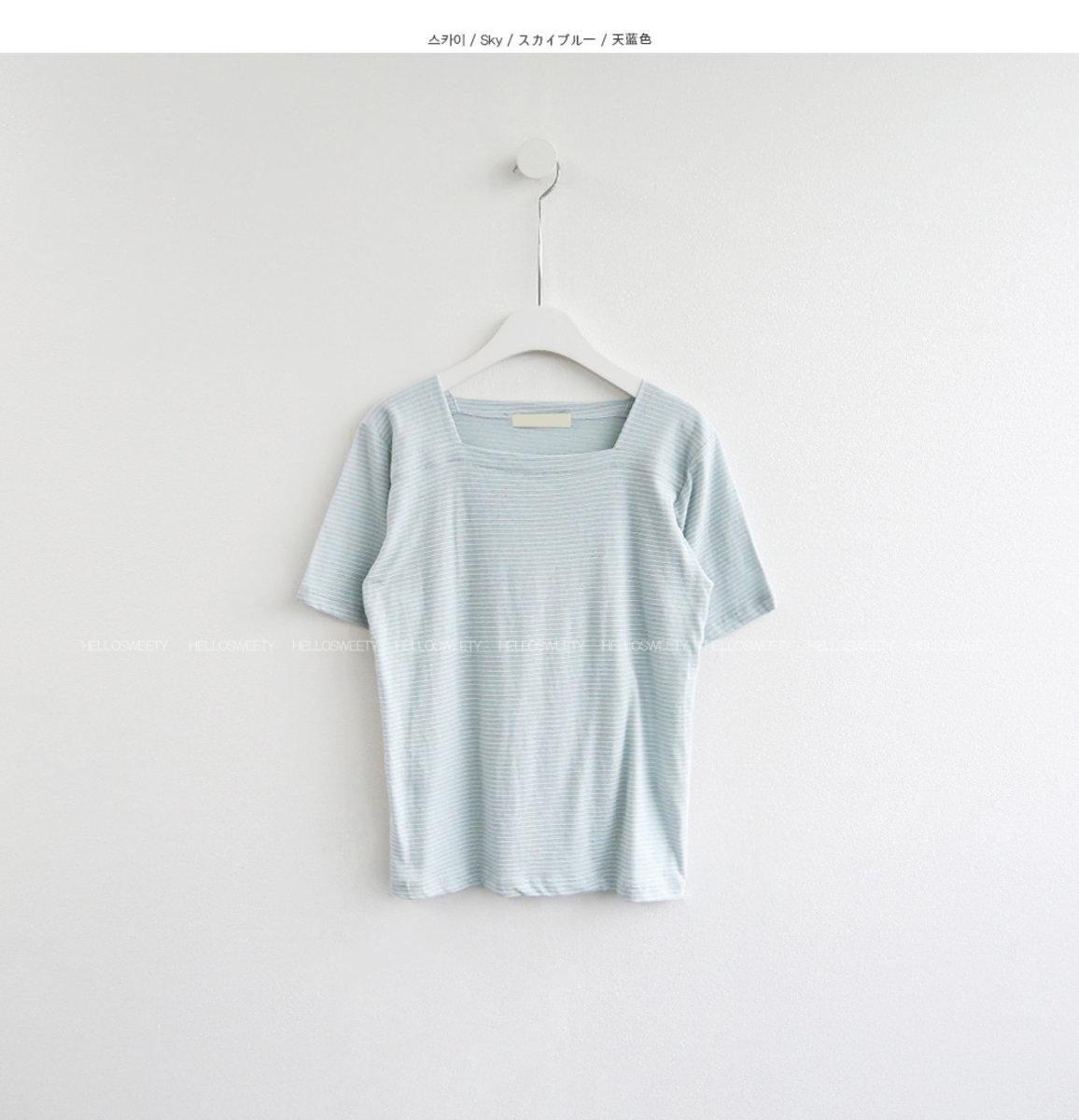 Aztec Square Neck Stripe T-Shirt