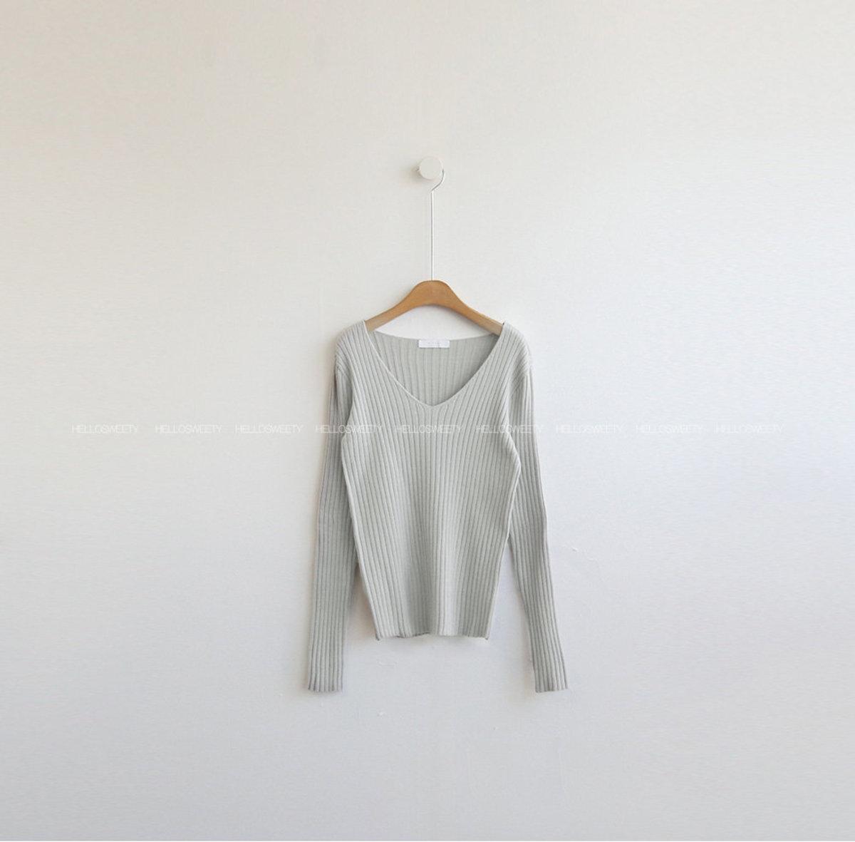 Bind Ribbed V-Neck Knit