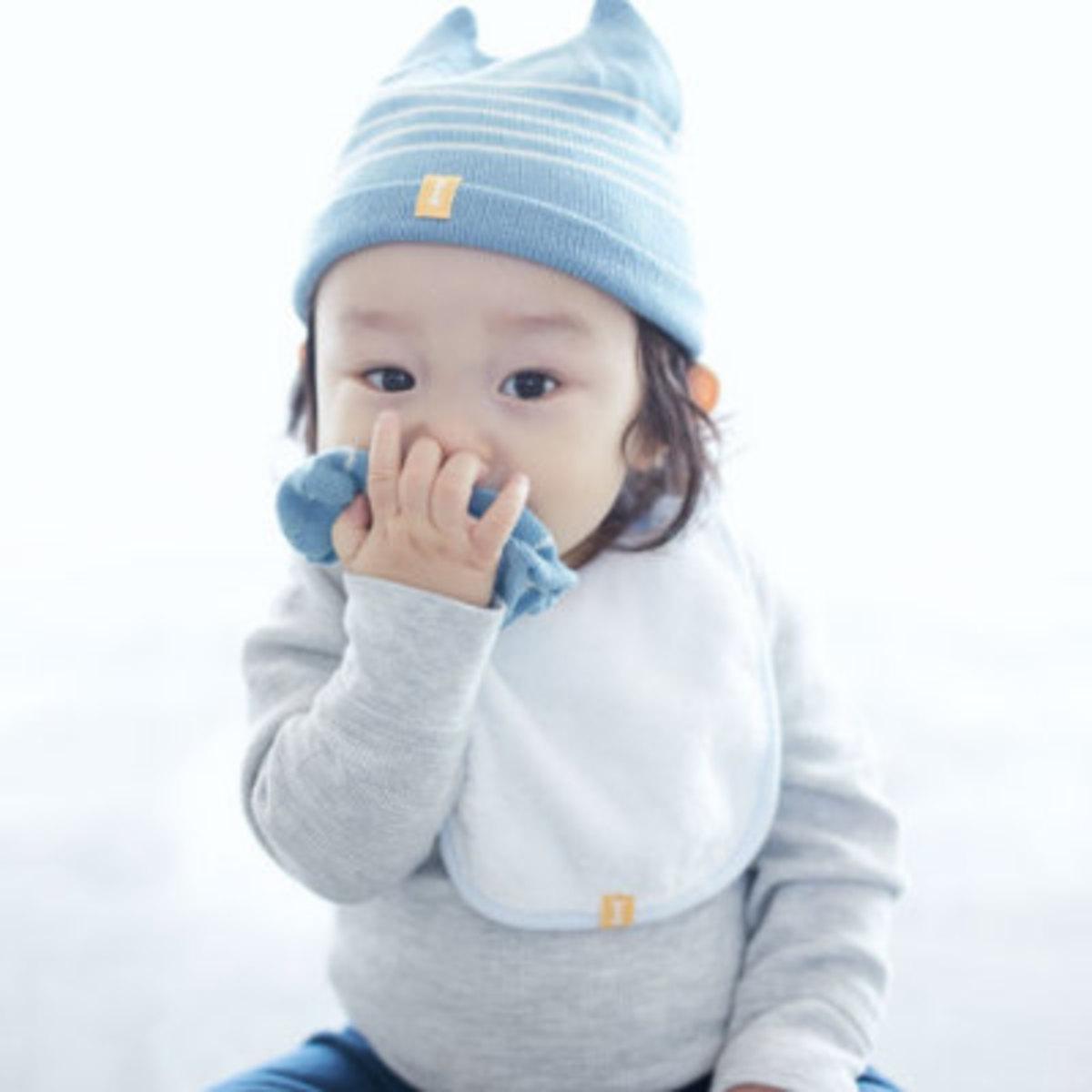 Organic Wool KB2 Baby Cap - Blue