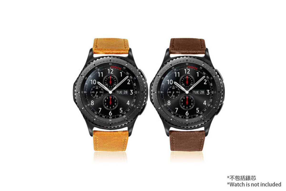Genuine Leather Strap Compatible with Samsung Gear S3