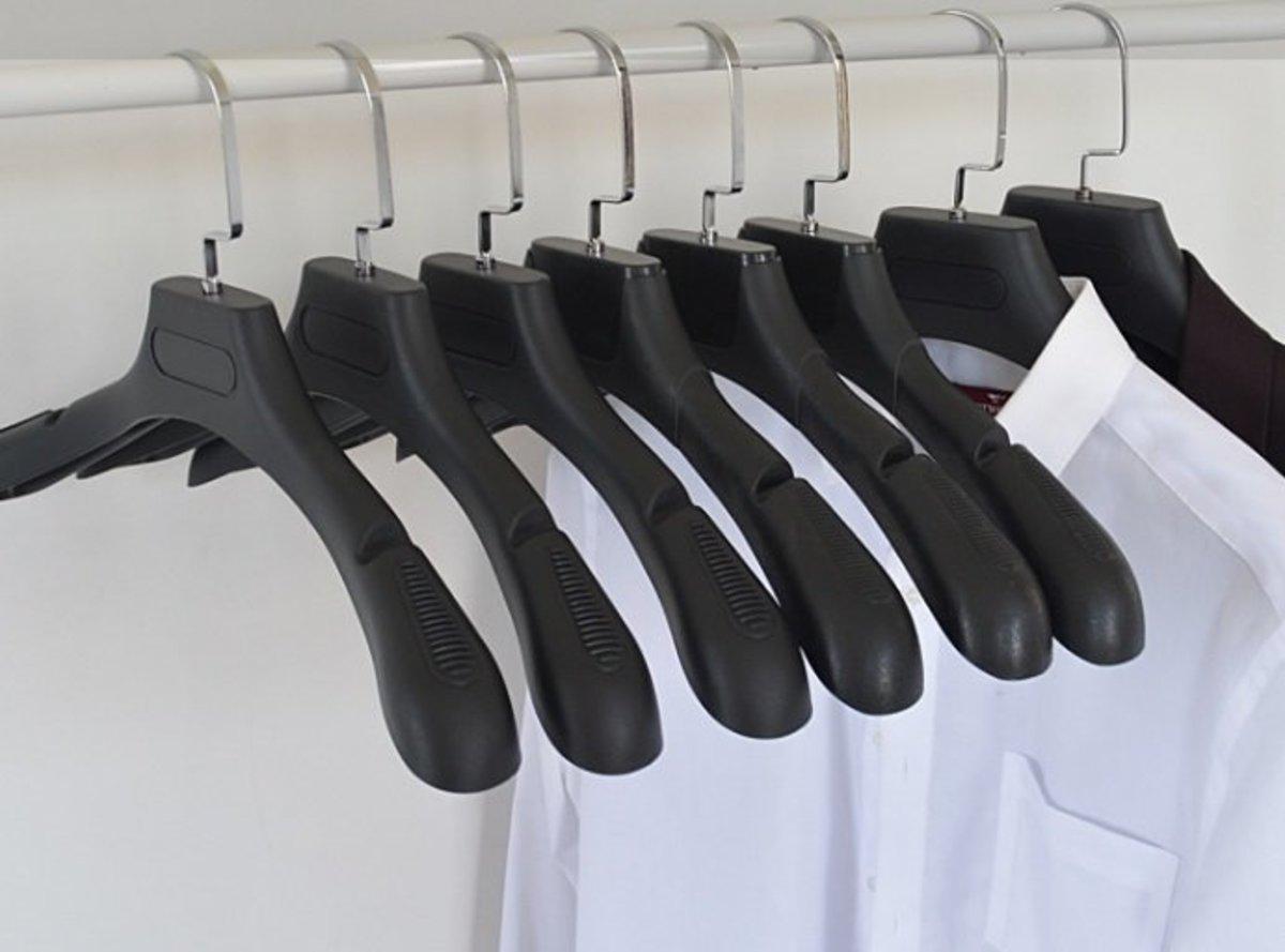防滑衣架西裝男士寬肩架子-BLACK COLOR 1PCS