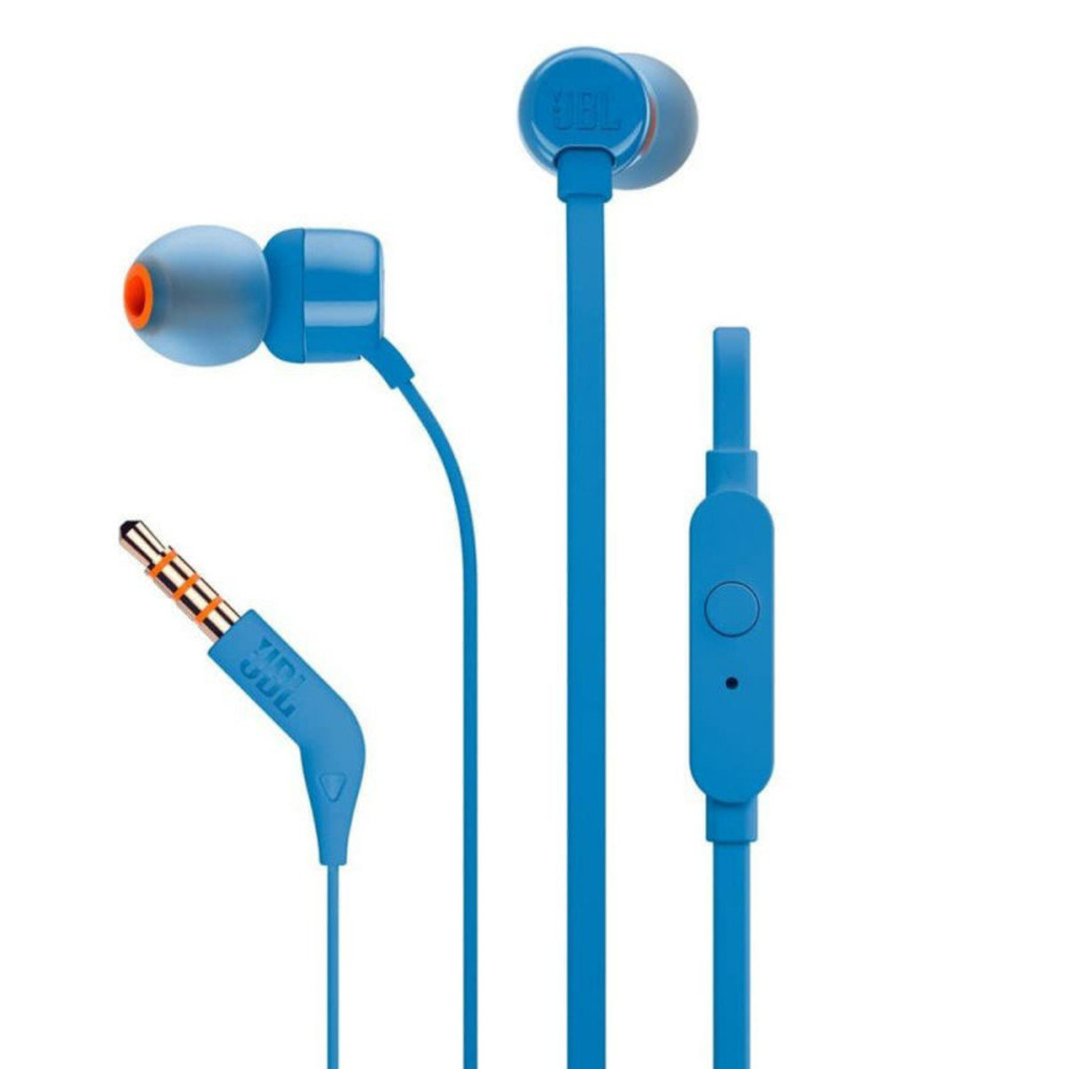 T110 (BLUE)  Flat cable In-Ear Stereo with mic earphones 內耳塞式耳筒連咪