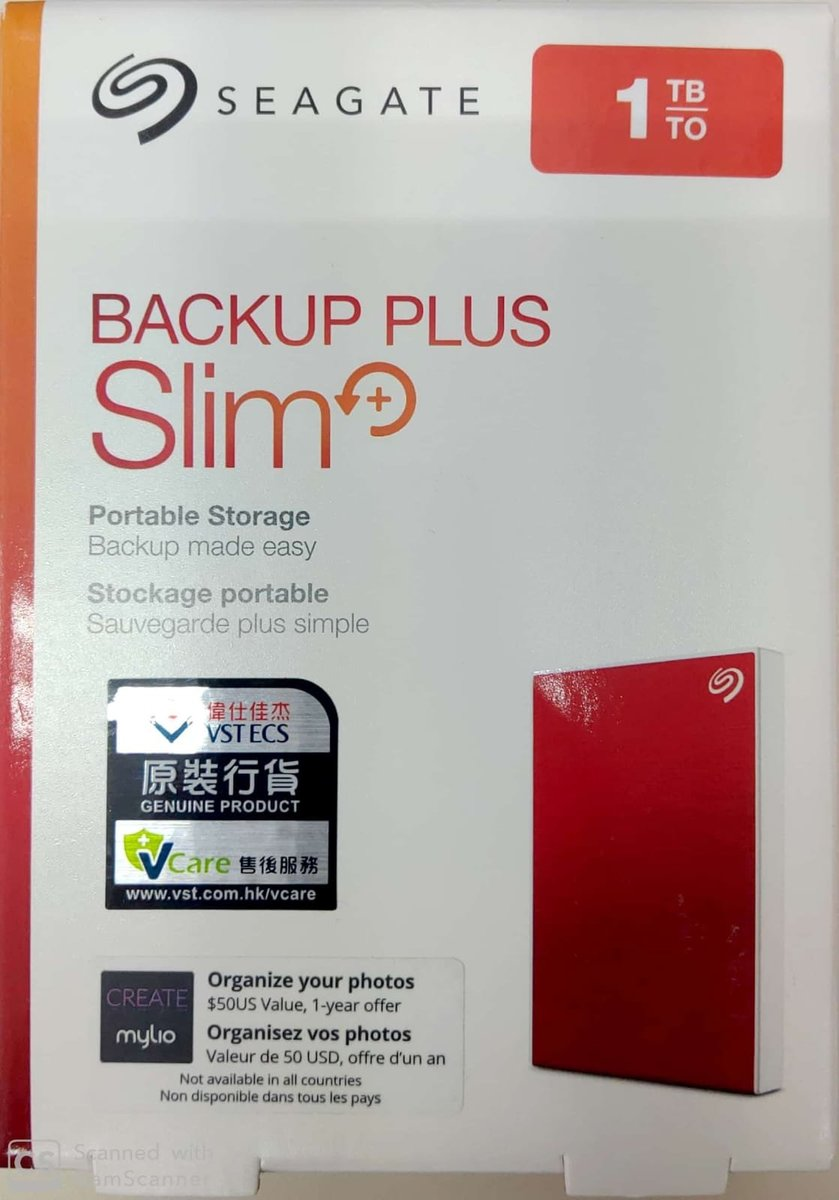 "SEAGATE 2.5"" 1TB (RED) Back Up Plus Slim Drive USB3.0 NTFS"