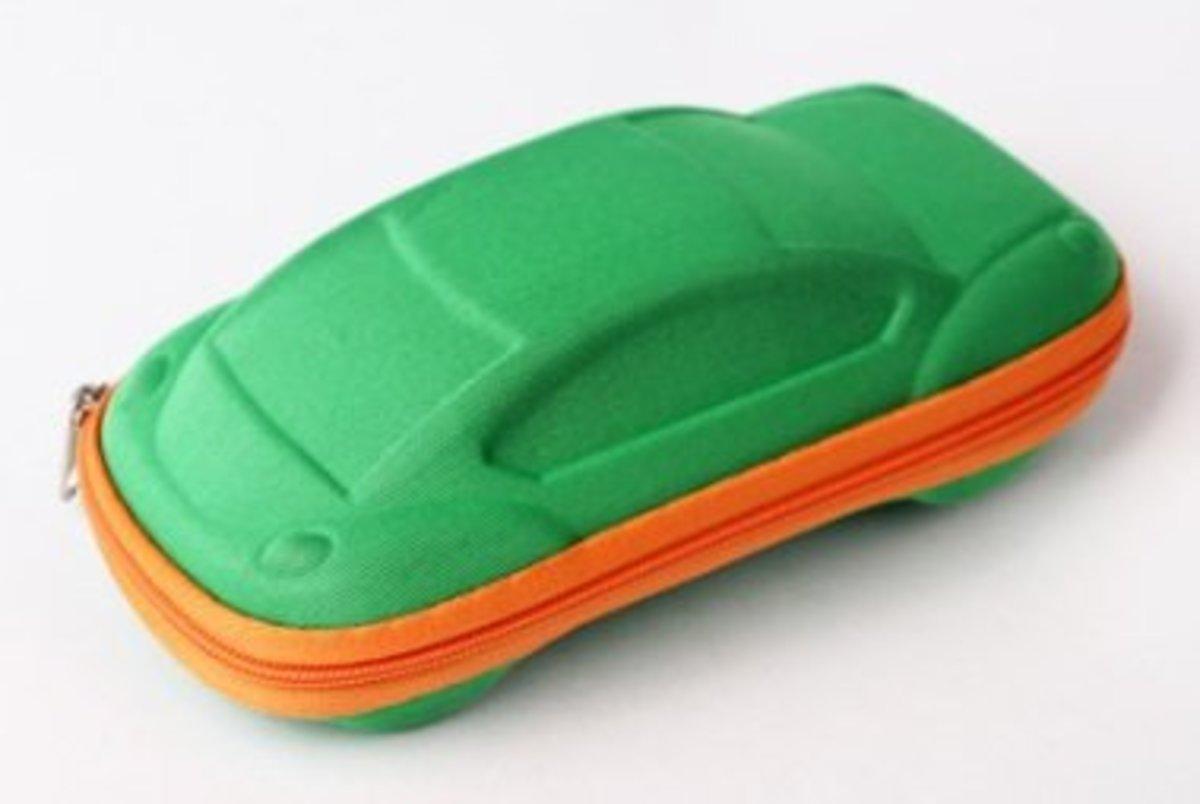 卡通汽車型兒童太陽眼鏡盒 綠色