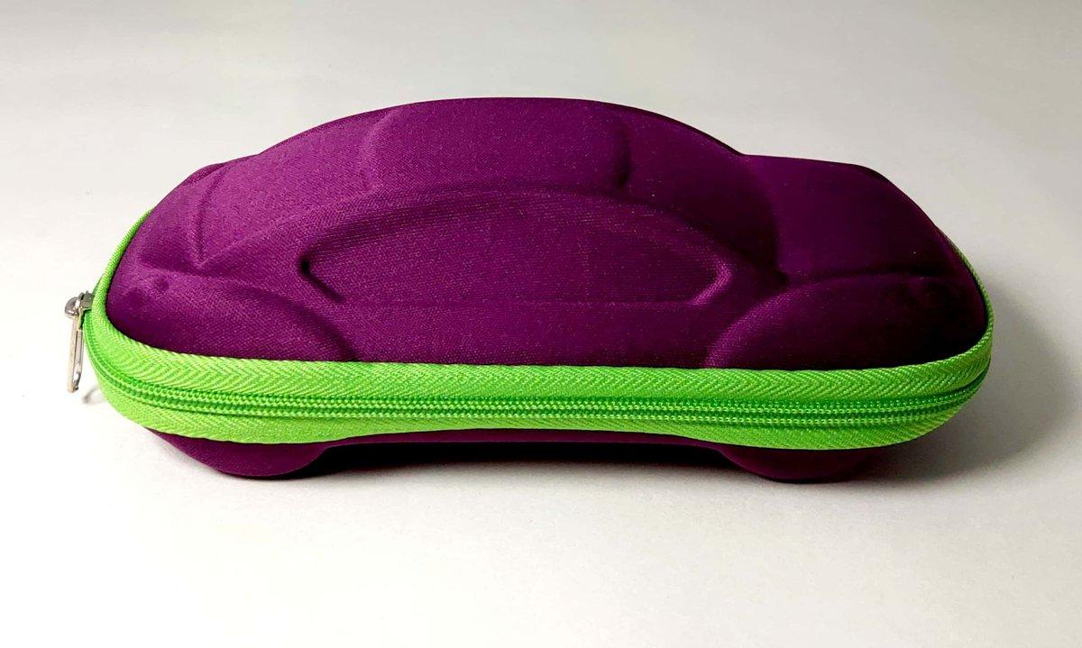 卡通汽車型兒童太陽眼鏡盒 紫色