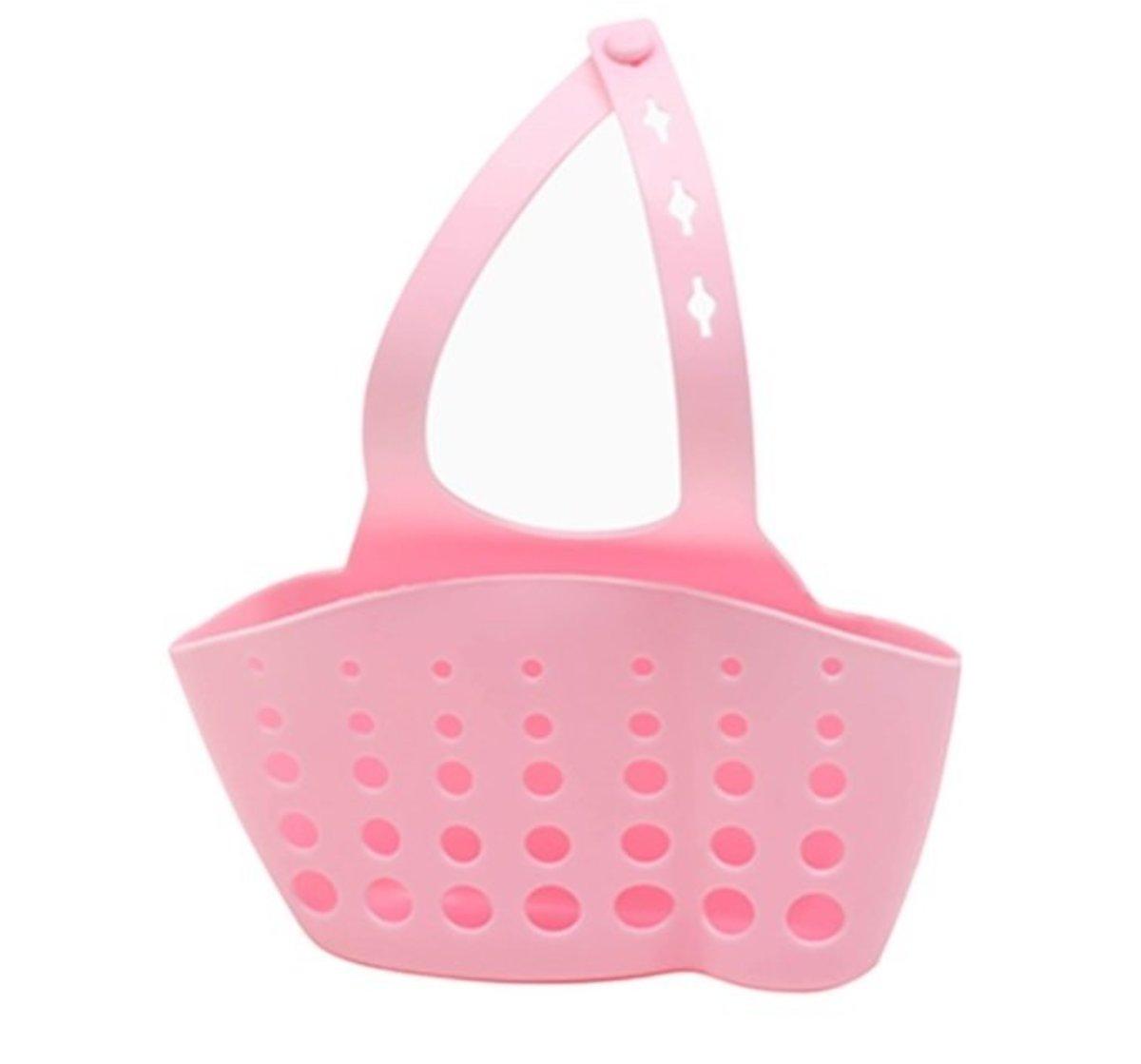 可調節按扣式水槽收納掛籃 (pink) (長10x闊4x高8cm)