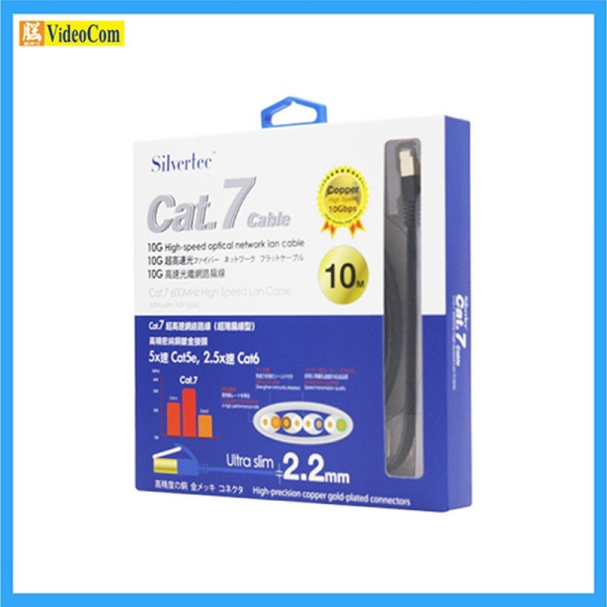 SilverTec Cat.7 flat patch cord cable 10M