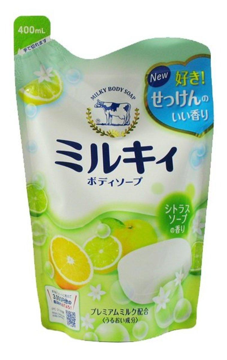 COW MILKY BODY SOAP YUZU REFILL 牛乳石鹼 牛奶精華沐浴露(高雅柚香)  補充裝 400ml 綠袋(4901525006347)