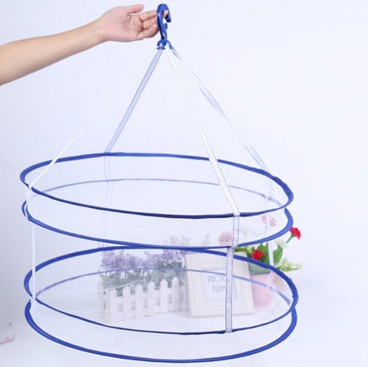 層防風鉤可折疊晾衣籃雙層曬衣網(BLUE)