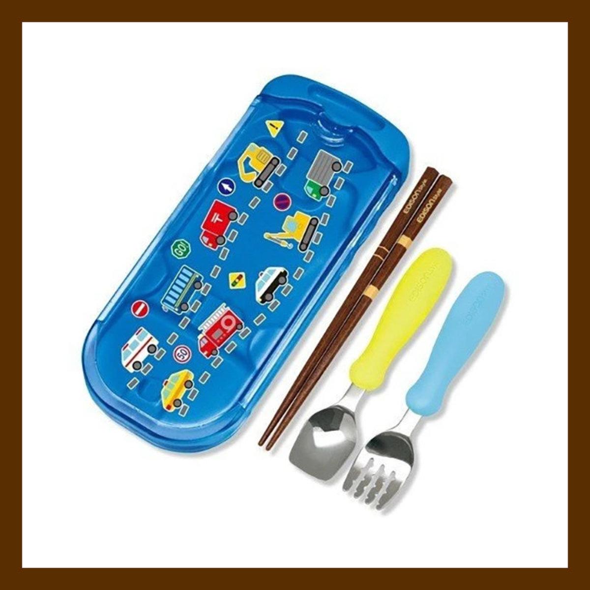 EDISON ma ma 兒童叉匙連筷子套裝  (附收納盒) (藍色)(4544742983178)