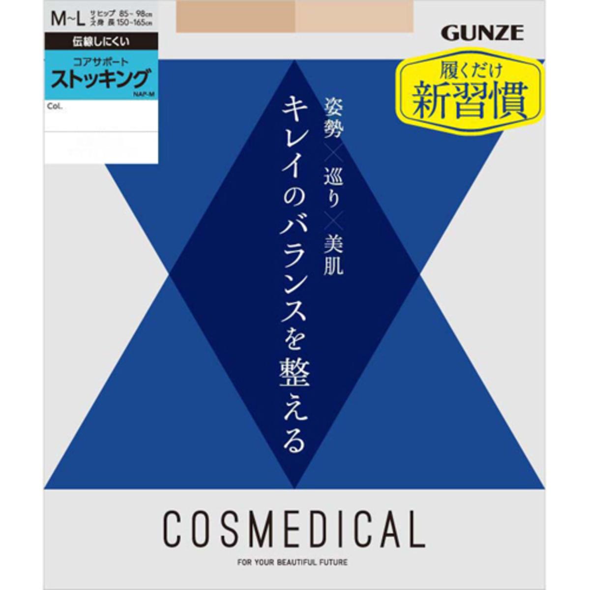 GUNZE COSMEDICAL CORE SUPPORT TIGHT BLACK 郡是   春夏用三效機能絲襪(日本製)  NA100  黑色 M-L(4547301030788)
