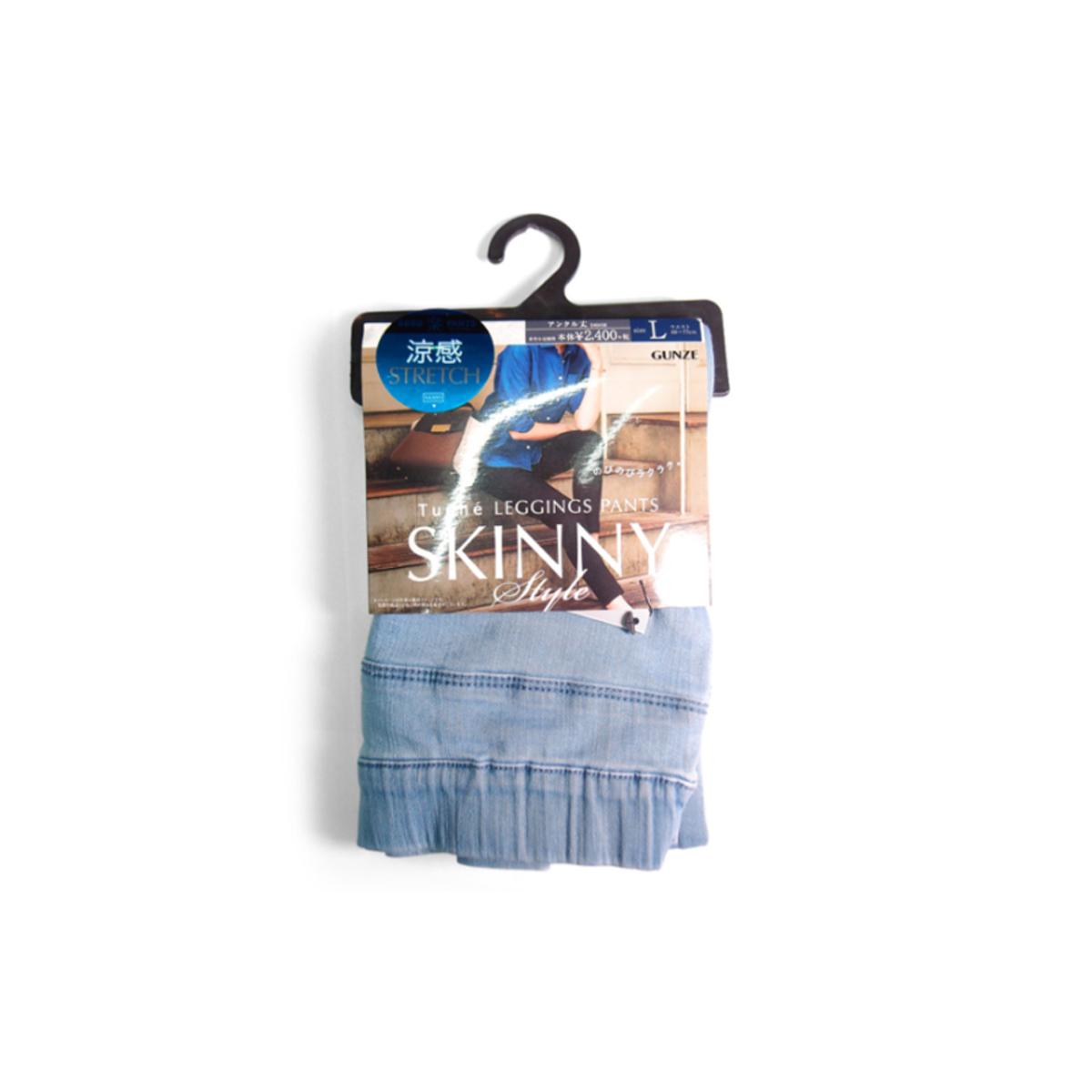 GUNZE Tuche Denim Leggings Pants Skinny - Blue 郡是 高彈性涼感牛仔褲布 TZH508 83L,Color:459淺藍色 L(4547531534957)