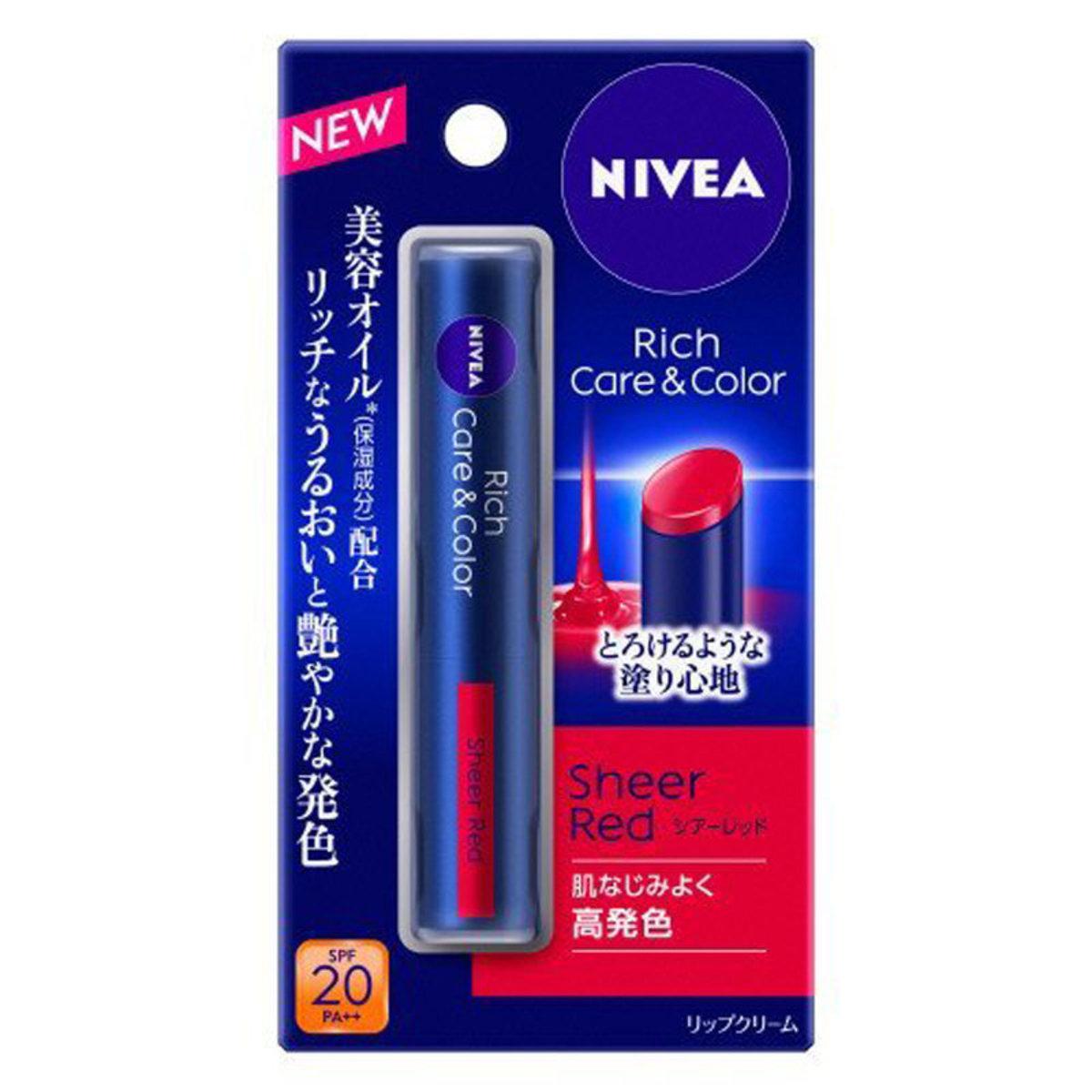 NIVEA Rich Care & Color Lip  妮維雅  豐盈水潤顯色潤唇膏(Col# SHEER RED)  紅色