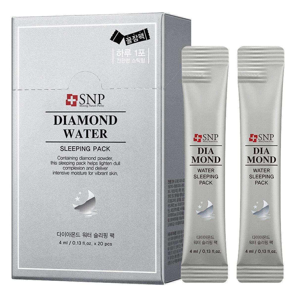 SNP Diamond Water Sleeping Pack (Silver) 愛神菲 鑽石水份睡眠面膜 (銀色) 4ml x 20支 SNP銀盒